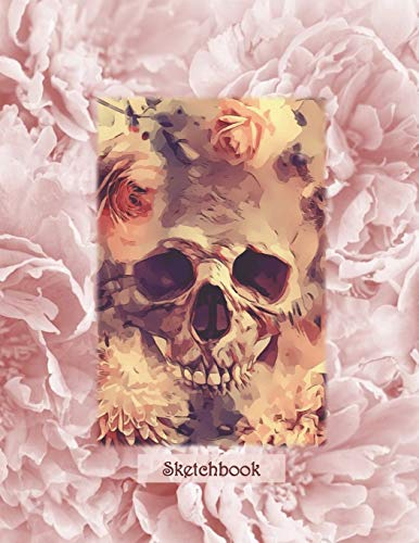Sketchbook: Boho Chic Skull - A Halloween Themed Large Notebook with 100 Blank Pages, Halloween Motifs Inside (8,5 x 11 inches)