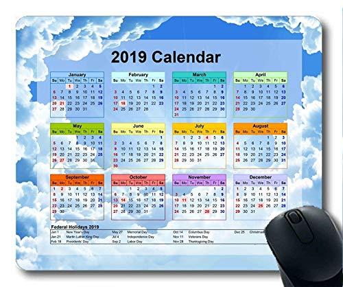 Yanteng Calendario 2019 con Cojines Importantes para Las Fiestas, Alfombrilla para ratón,...