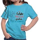 HARIZ  Mädchen T-Shirt Echte Mädchen Tischtennis Sport Inkl. Geschenk Karte Azur Blau 140/9-11 Jahre