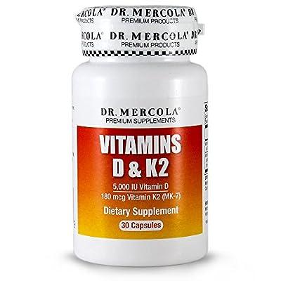 Dr Mercola Vitamins D & K2, 5,000 IU Vitamin D, 180mcg Vitamin K2, 30 Capsules (5,000 IU Vitamin D, 180mcg Vitamin K2, 30 Capsules) from Dr Mercola