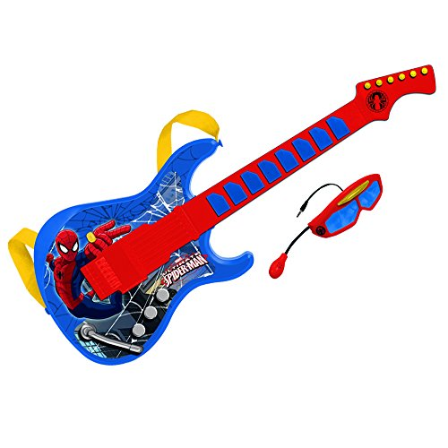 Spiderman Guitarra electrónica con Gafas y micrófono Incorporado (Claudio Reig 557) Juguete Musical REIG557