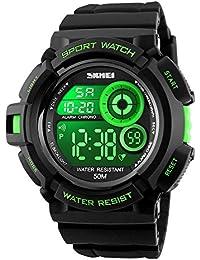 7f8ded93c2b5 Deportivos Relojes de Hombre Digitales 7 Colores LED Luz Multifuncional  Electrónica Waterproof 50M Resistente Agua Plástico