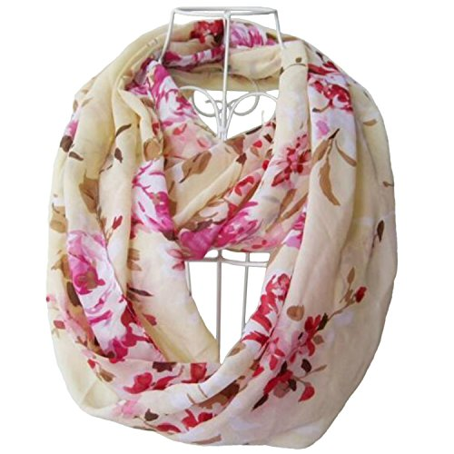 - 510qgmqabuL - Tapp Collections Multicolor Floral Print Infinity Scarf – Cream