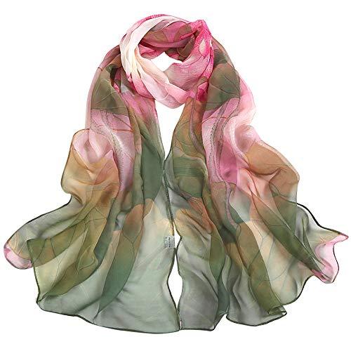 POPLY Schal, Mode Frauen Boho Lotus Drucken Lange Weiche Wrap Schal 160x50cm Damen Schal Hohe Qualität Weich Chiffon (Hot Power Girl Kostüm)