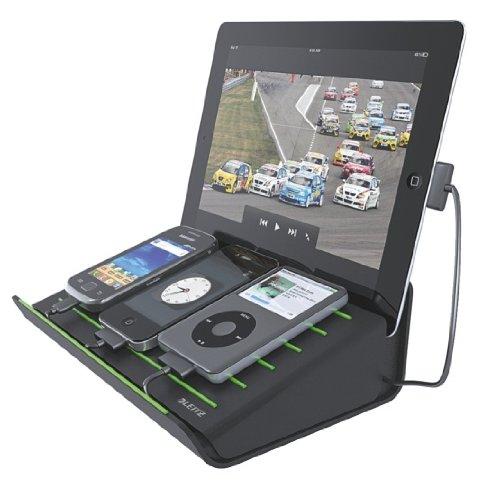 Leitz 62640095 caricatore multifunzione da tavolo per ipad/tablet pc, nero