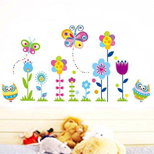 Preciosa casa de flores mariposas–adhesivo decorativo para pared, diseño de búhos de vinilo extraíble papel pintado de salón dormitorio cocina arte imagen PVC Murales de ventana puerta decoración + 3d rana coche adhesivo regalo
