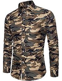 Cebbay Liquidación Camisa Estampada de Hombre Top de Camuflaje de Manga  Larga y diseño Delgado Pullover 031059ca11353
