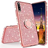 MRSTER Samsung Note 10 Coque Bling Gliter Paillette Brillant Strass Coque Etui avec 360 Rotation Bague Stand Holder Gel TPU Antichoc Etui Housse pour Samsung Galaxy Note 10. TPU Rose Gold