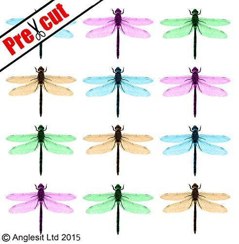 vorgeschnittenen Pastell Mix Libelle essbarem Reispapier/Wafer Papier Tasse Kuchen Topper Hochzeit Geburtstag Party (Dragonfly Dekorationen Party)