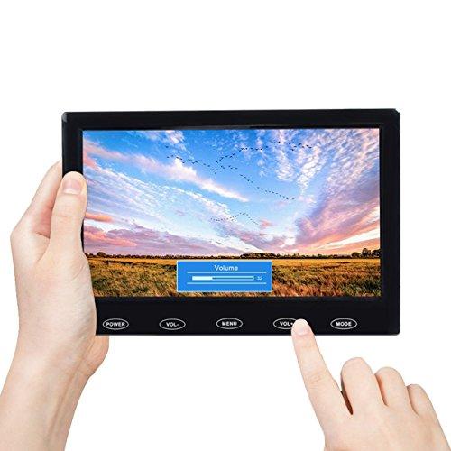 TOGUARD Écran 7 Pouces TFT LCD Écran Ultra-Mince Portable Moniteur Full HD 1024x600, Entrée AV/VGA/HDMI, avec Boutons Tactiles, Haut-Parleur Intégré, Compatible avec Caméra de Sécurité Surveillanc
