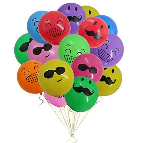 Mattelsen Globos Emoji, Emoticonos globo Lunares Balloons Decoraciones Fiesta Cumpleaños Boda Globos de Látex 20 piezas