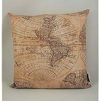 Kissenbezug Weltkarte antik 40x40cm handmade