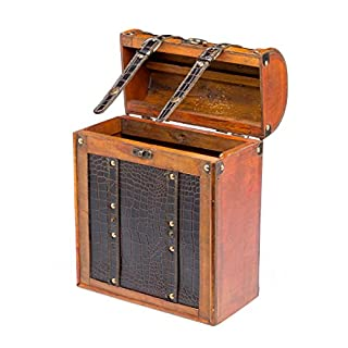 aubaho Wine case for 3 bottles of wine weinbox antique wooden bottle basket wine chest