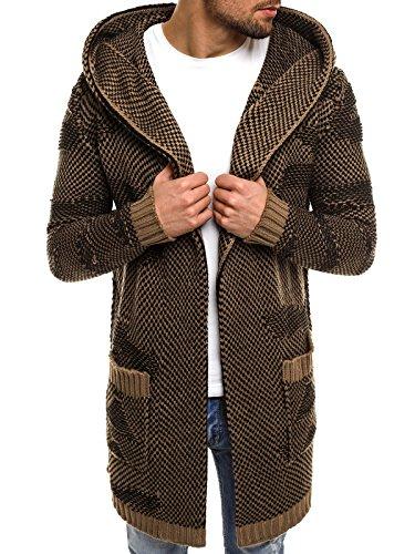 OZONEE Herren Kapuzenpullover Pullover Sweatshirt Strickpullover Camouflage Madmext 2150/18 Braun L