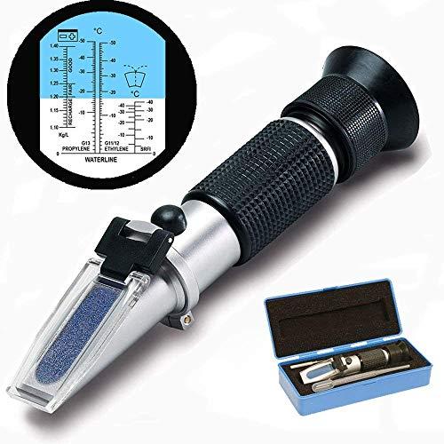 Frostschutz Refraktometer ,GOCHANGE Handrefraktometer für Ethylenglykol, Propylenglykol, Gefrierpunkt von Kühlwasser, Scheibenwasser, AdBlue, Batterie