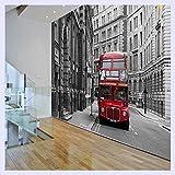 BHXINGMU Fondo De PantallaPersonalizadoEuropea Nostalgia Rojo Londres Autobús Hotel Hall Dormitorio Sala De Estar Papel Mural Mural 220Cm(H)×300Cm(W)