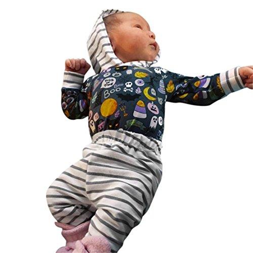 happy event Halloween Kleinkind Baby Jungen Mädchen Baumwolle Kürbis Geist Kostüm Outfits Kleidung | Toddler Infant Baby Boy Girls Pumpkin Print Bowknot Halloween Rompers Outfits Clothes (3Pcs) ()