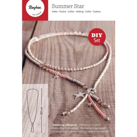 Kit Schaffung von Schmuck Summer Star, DIY Halskette Kette Glasperlen und Anhänger Stern, L. (Art Kostüm Deco Schmuck)