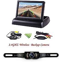 Podofo Camera Kit Pieghevole specchio TFT Monitor LCD con fotocamera di visione posteriore, 4.3-Inch