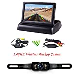 Podofo® 4.3' Foldable Wireless Car TFT LCD Mirror Monitor with Waterproof Night Vision Parking Reversing Camera Kit
