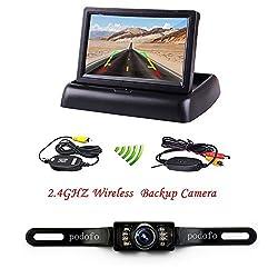 "podofo Rückfahrkamera 4.3"" Faltbarer Drahtloser Auto Rückansicht TFT LCD Monitor mit wasserdichter Nachtsicht Parken Rückfahrkamera Installationssatz"