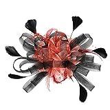 Scrolor Haarreife Kopfschmuck für Braut Feder Flapper Stirnband Kopfschmuck Frauen Kopfbedeckung Multi Color für Prom Party Travel(rot,free)
