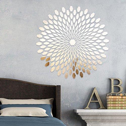 225pcs Spiegel Fliesen Wand 3D Sticker Aufkleber Mosaik Room Decor Stick auf Modern Art–Silber (Mosaik-wand-dekor Für Wohnzimmer)