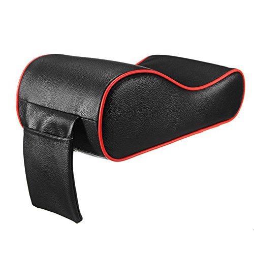 REFURBISHHOUSE Almohadilla del apoyabrazos del Coche de Cuero PU Espuma de Memoria Cubiertas del apoyabrazos Auto Universal con Bolsillo del telefono para BMW/Audi/Honda: Negro & Rojo