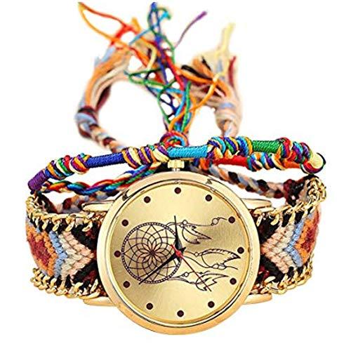 Reloj De Pulsera De Cuerda De Color Tejido con Correa De Lana para Ocio Deportivo Y Decoraciones Sencillas para Niñas