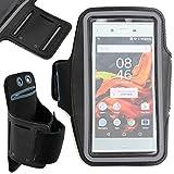 Etui tactile + brassard noir pour Sony Xperia X Compact et Xperia XZ, Medion E5005 et X5520 Smartphones – fente pour clé + velcro ajustable DURAGADGET