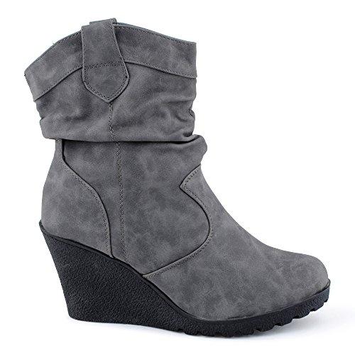Damen Schlupf Keil-Absatz Stiefel Stiefeletten Cowboy Boots Schuhe Grau