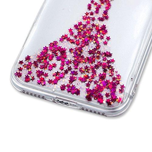 SKYXD Cover Sottile per iPhone 7 TPU Silicone Morbido Soft Case Gel Trasparente e Cristallo Protettiva Custodia Glitter Brillantini Resistente Antiurto Guscio Protettivo con Disegni Creativo Bella Col Rose Angelo