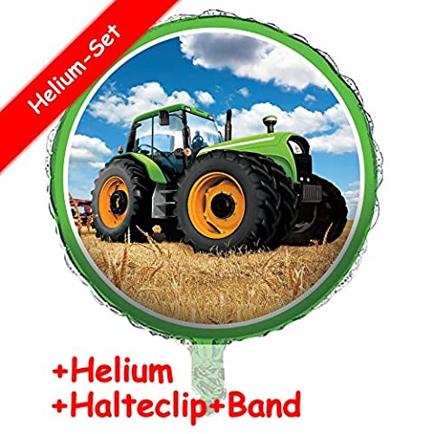 Folienballon Set * TRAKTOR TIME * + HELIUM FÜLLUNG + HALTE CLIP + BAND * für Kindergeburtstag oder Motto-Party // Folien Ballon Helium Deko Ballongas