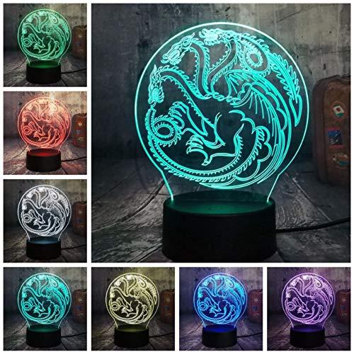 Lampe ein Lied von Eis und Feuer Haus von 3D RGB LED Nachtlicht USB Tischlampe Home Decor Weihnachtsgeschenk