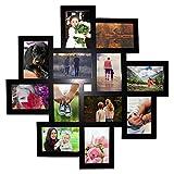 Collage Bilderrahmen - 12 Fotos (10x15) Schwarzer Bilder Collage Rahmen (65x65cm) Holzrahmen - Fotorahmen für Porträt und Landschafts Foto Display mit Haken, Schrauben, Dübeln und Inbusschlüssel