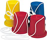 Dekospass/CARPETA 1 Paar Bunte Laufdosen aus Kunststoff mit Seil für Kindergeburtstag oder Mottoparty // Kinder Geburtstag Party Spiel Mitgebsel Geschenk Gelb Rot Blau