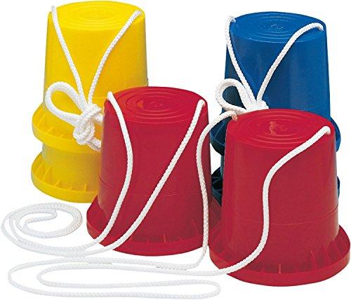 1 Paar bunte Laufdosen aus Kunststoff mit Seil für Kindergeburtstag oder Mottoparty // Kinder Geburtstag Party Spiel Mitgebsel Geschenk Gelb Rot Blau