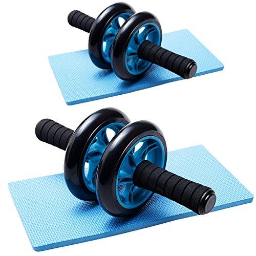 DXP 2x AB Wheel mit Knie Pad Bauchroller Bauchtrainer Roller Bauchmuskeltrainer DJFL01 Blau (2)