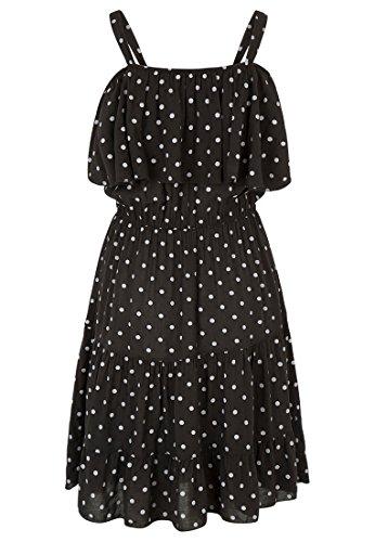 Kleid Tupfen Off-Shoulde Schwarz/weiss