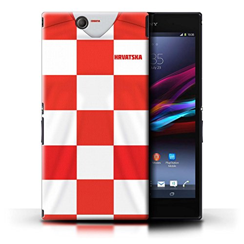 Stuff4® Hülle/Case für Sony Xperia Z Ultra/Kroatien/Kroatisch Muster/Weltmeisterschaft 2018 Fußball Trikot Kollektion