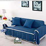 LY&HYL Imitation linen fabric Solid Sofa Cover Single/Two/Three/Four-seater sofa cover polyester sofa slipcovers used for drawing room Navy blue sofa covers , 215*260Loveseat