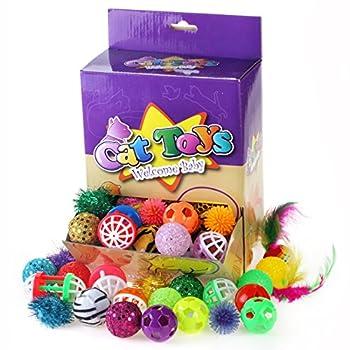 Chiwava 48 pcs Noël balles de jouet pour chat variété Lot de 12 types Hochet Mix Boule de chaton d'activité Jeu interactif Jouets Couleurs assorties
