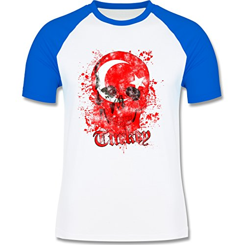 EM 2016 - Frankreich - Turkey Schädel Vintage - zweifarbiges Baseballshirt für Männer Weiß/Royalblau