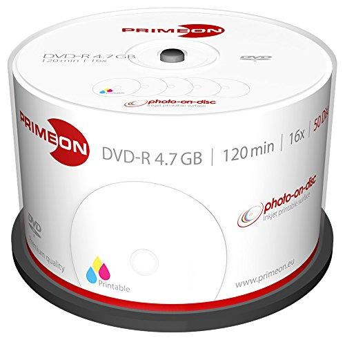 picture regarding Printable Dvd Rohlinge named PRIMEON DVD-R 4.7GB/120Min/16x Cakebox (50 Disc), image-upon-disc Show up, Inkjet Fullsize Printable