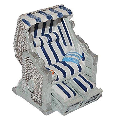 Preisvergleich Produktbild 3-D Figur Strandkorb blau weiß - z.B. als Tischdeko Mini Deko Dekofigur - Ostsee Meer Nordsee Maritim Klein Strandkörbe