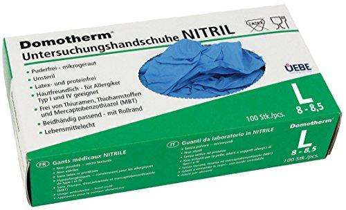 Domotherm Nitril Untersuchungshandschuhe L (Größe 8 - 8,5), 100 Stück Einmalhandschuhe