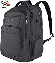 KROSER Travel Laptop Backpack 17.3 Inch Large Computer Backpack Water-Repellent School Daypack with USB Chargi