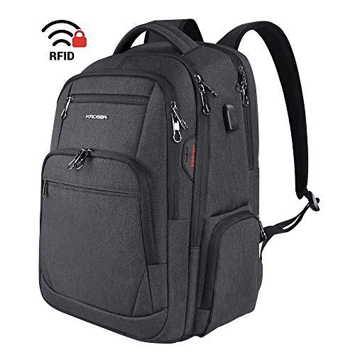KROSER Travel Laptop Rucksack 15,6-17,3'' Großer Wasserdicht Business Rucksack Taschen Schulrucksack Backpack Daypack Mit USB und RFID-Taschen für Herren/College/Männer/Frauen Schwarz MEHRWEG -
