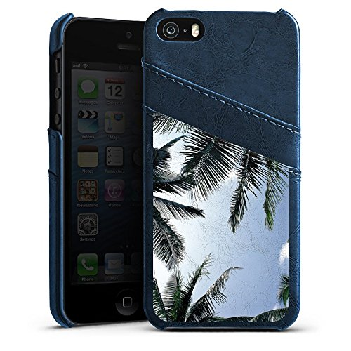 Apple iPhone 4 Housse Étui Silicone Coque Protection Palmiers Ciel Nature Étui en cuir bleu marine