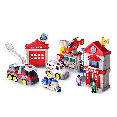 SainSmart Jr. Happkid Fire Station Toy Fire Department House Playset for Kids, Electronic Fire Truck Toys with Fireman Figures with Christmas Box